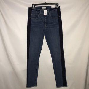 Loft High Wasted Skinny Tuxedo Stripe Jeans